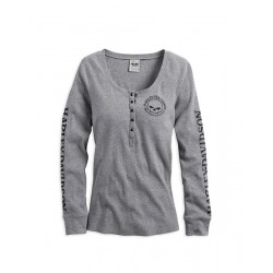 Skull Snap Front Long Sleeve Henley