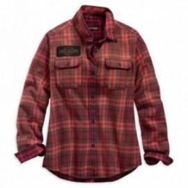 Chemise femme Harley Davidson Laser Cut Logo Plaid Shirt