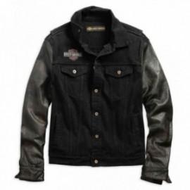 Veste Homme Harley Leather Sleeve Slim Fit Denim Jacket