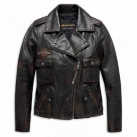 Blouson Femme Harley Eagle Logo Distressed Leather Biker Jacket