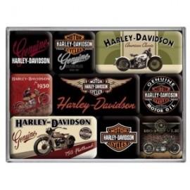 Lot de 9 magnets retro Harley 7x9