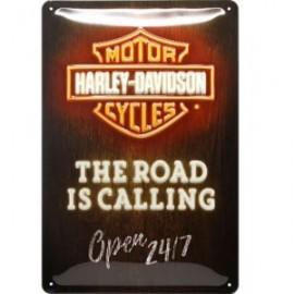 Plaque métal Harley Davidson The Road is calling 20x30cm