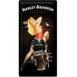 Plaque métal Harley Davidson avec Pin'up 25x50cm