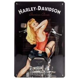 Plaque métal Harley Davidson avec Pin'up 20x30cm