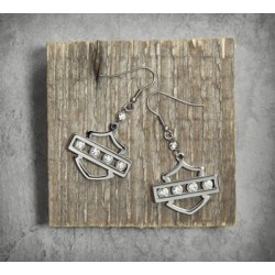 Bling Bar & Shield Logo Earrings