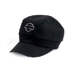 Embellished Bar & Shield Logo Biker Cap