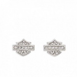 Rhinestone Logo Stud Earrings