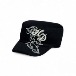 Metallic Embroidered Flat Top Cap