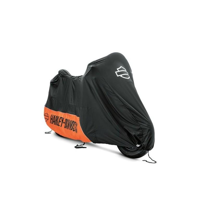 93100019 housse harley davidson orange et noir for Housse pour moto